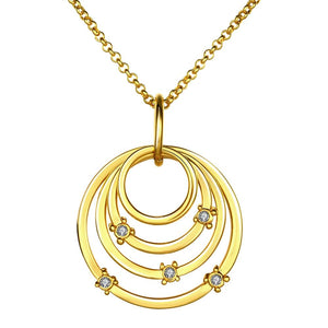 18K Gold Plated Necklace with Lab Grown Diamonds on 4 Layers Pendants - The Trendy Accessories Store
