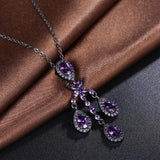 Amethyst Vintage Black Gold Necklace made with Swarovski Crystals - The Trendy Accessories Store