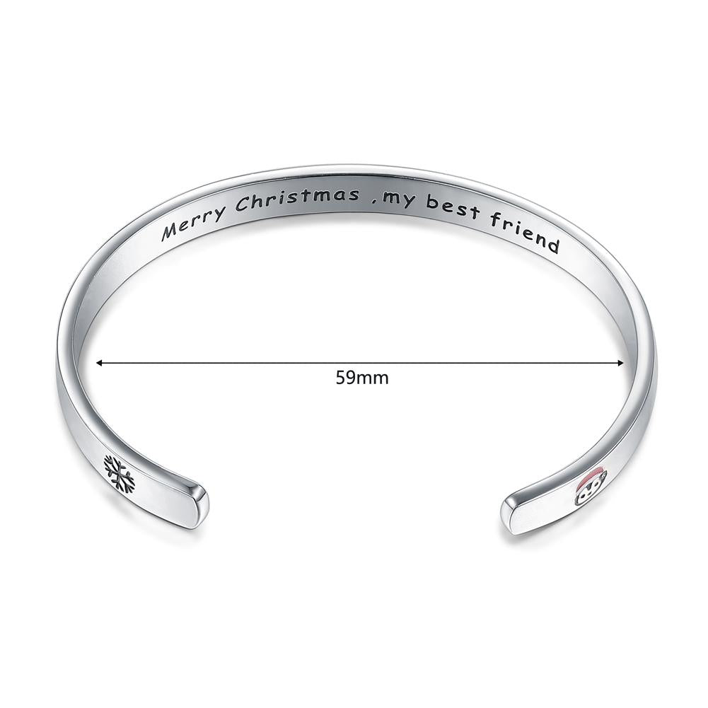 Merry Christmas Bracelet in 18K White Gold Plated - The Trendy Accessories Store