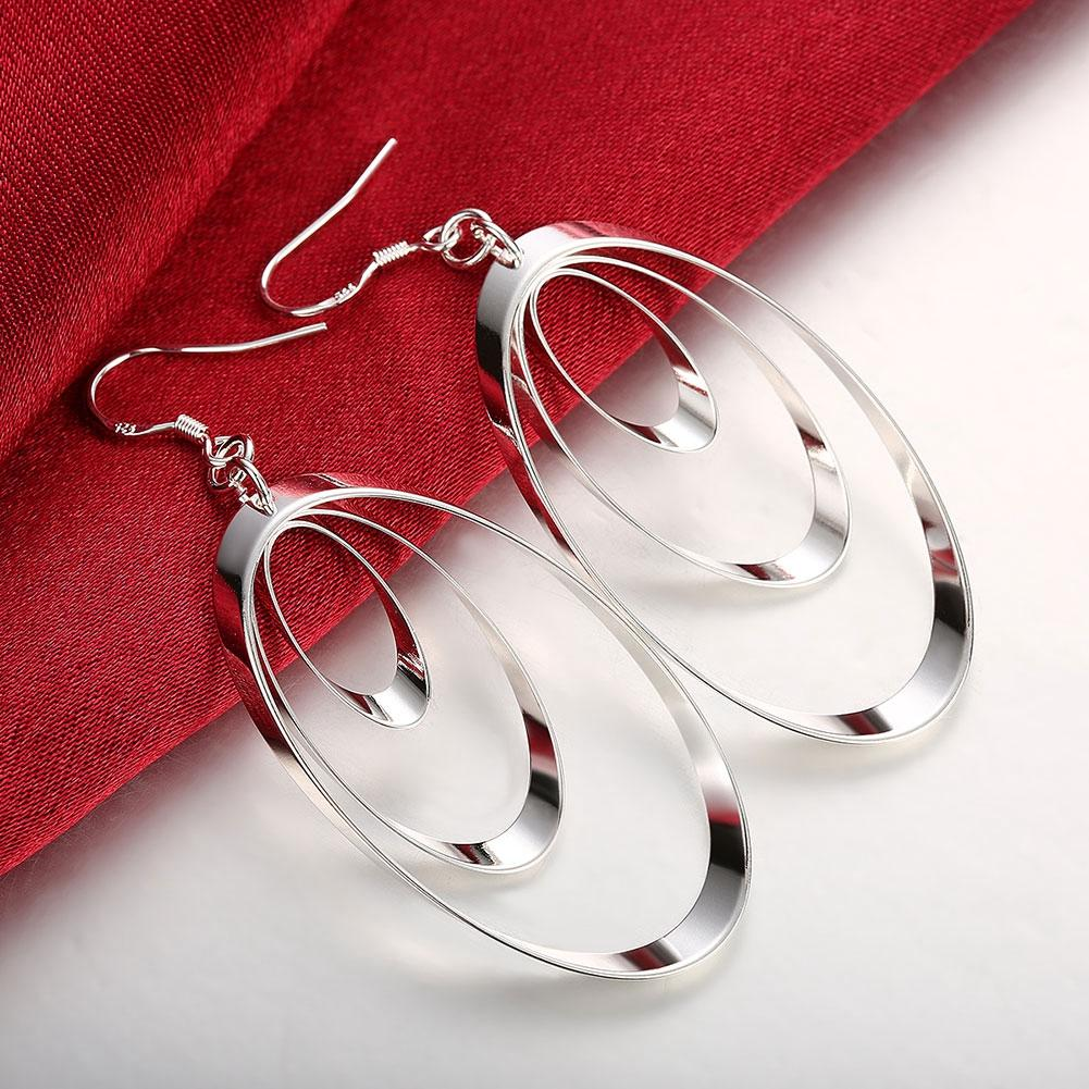 3 Layer Drop Earring in 18K White Gold Plated - The Trendy Accessories Store