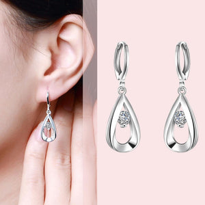 Round Drop Earring in 18K White Gold Plated - The Trendy Accessories Store