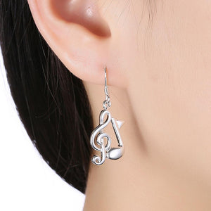 Music Inspired Drop Earring in 18K White Gold Plated - The Trendy Accessories Store
