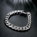 Father's Day Gift 14K White Gold Plating Sleek Box Curb Chain Link - The Trendy Accessories Store