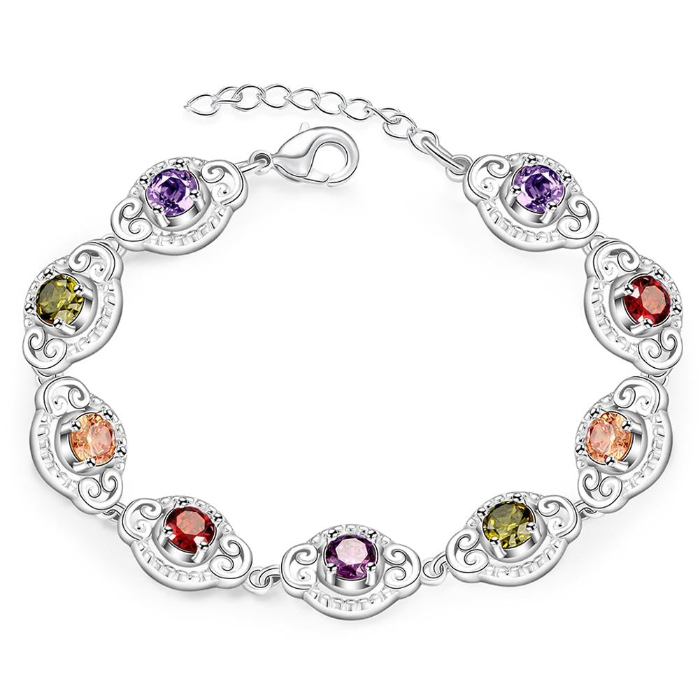 18K White Gold Plated Ciricular Rainbow Bracelet - The Trendy Accessories Store