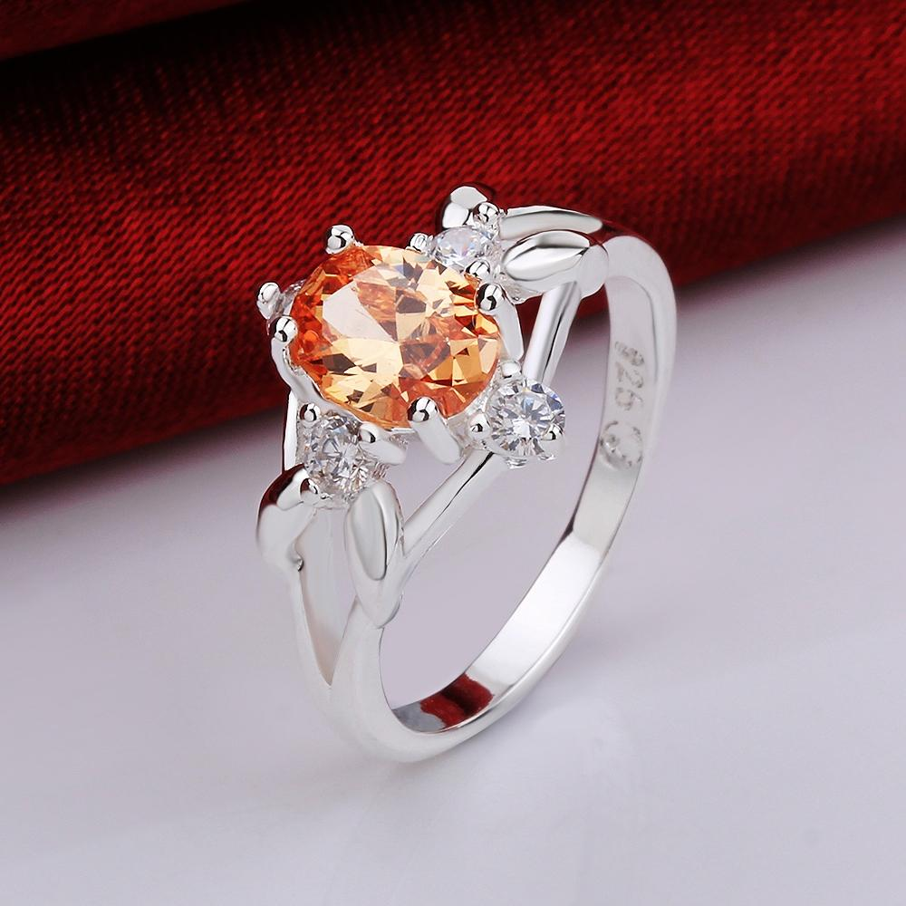 Silver Plating Orange Swarovski Sleek Statement Pav'e Ring - The Trendy Accessories Store