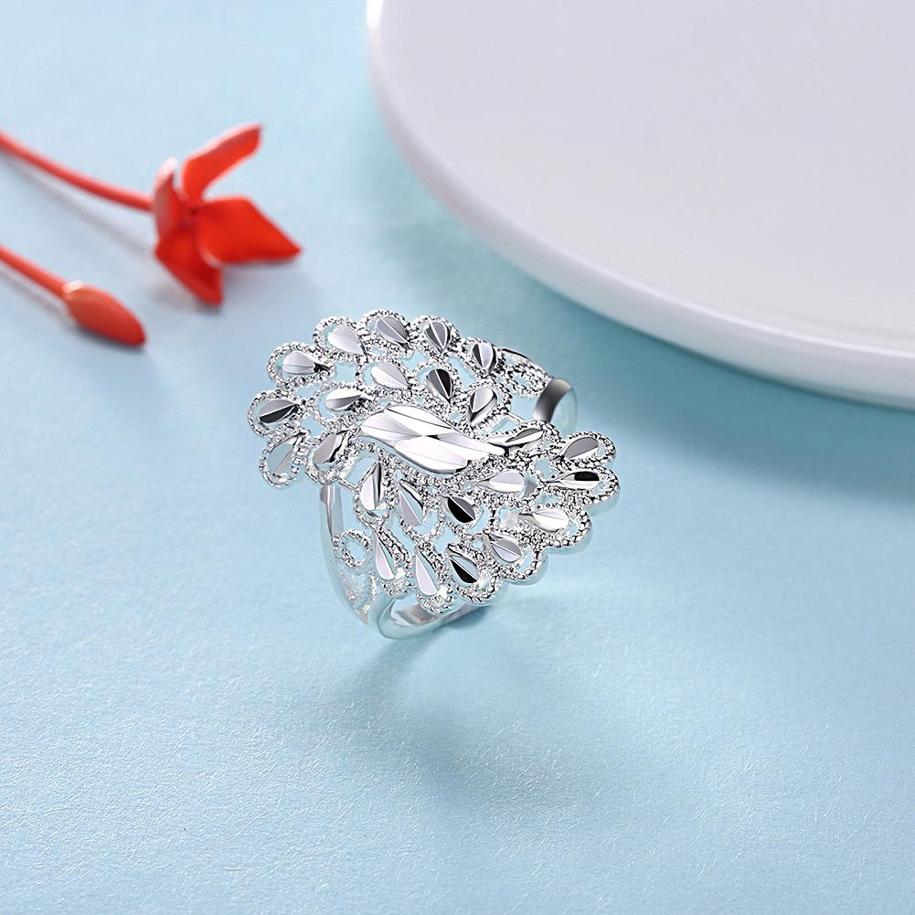 Silver Plating Curved Orchid Design Ring - The Trendy Accessories Store