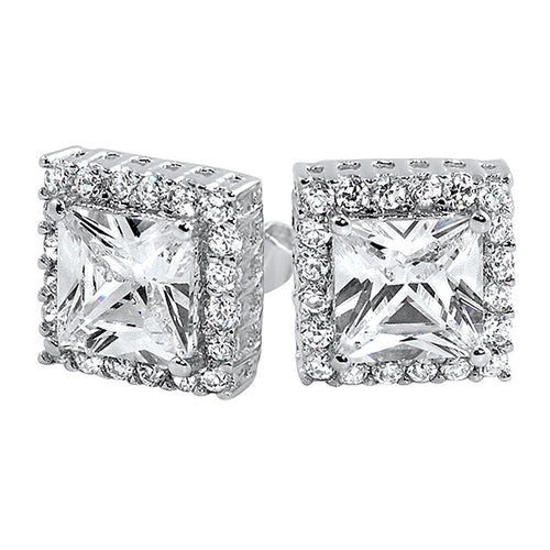 Micro Pave Square Cut CZ Bling Bling Earrings - The Trendy Accessories Store