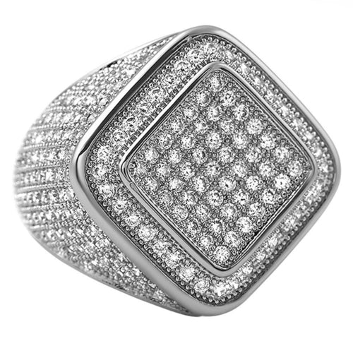 Diamond Box CZ Mens Micro Pave Bling Bling Ring - The Trendy Accessories Store
