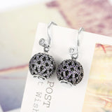 Sterling Silver Drop Earring with Purple Crystals - The Trendy Accessories Store