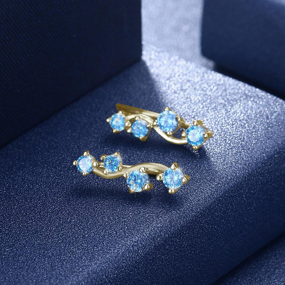 Sterling Silver Earring with Gold Plated and Blue Crystal - The Trendy Accessories Store