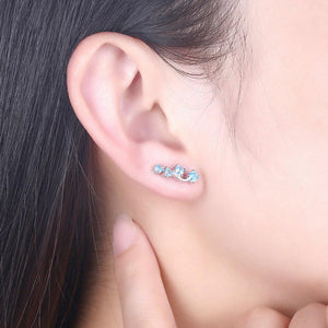 Sterling Silver Earring With Iced Out Blue Crystals - The Trendy Accessories Store