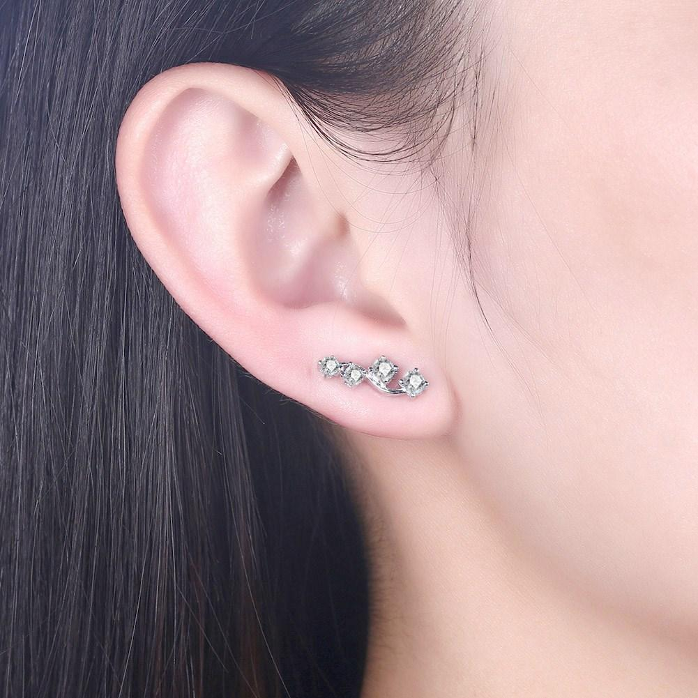 Sterling Silver Earring With White Crystal Stones - The Trendy Accessories Store
