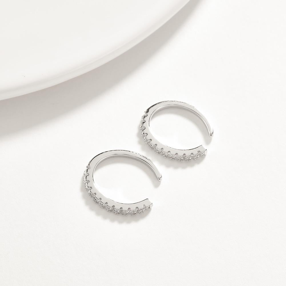 Sterling Silver Hoops Earring with Crystals - The Trendy Accessories Store