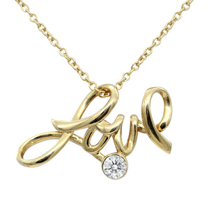 24K Gold Plated Love Necklace With Swarovski Stone - The Trendy Accessories Store