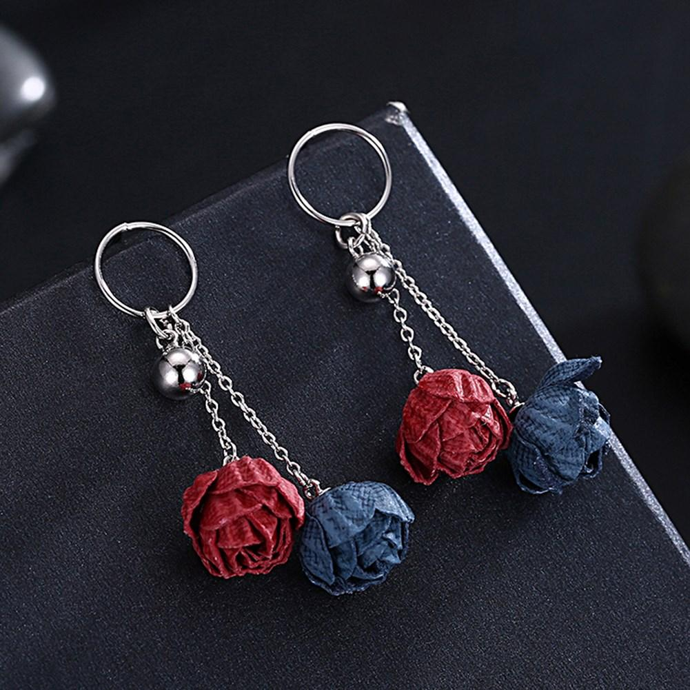 Sterling Silver Earring With Red and Blue Flowers Drop - The Trendy Accessories Store