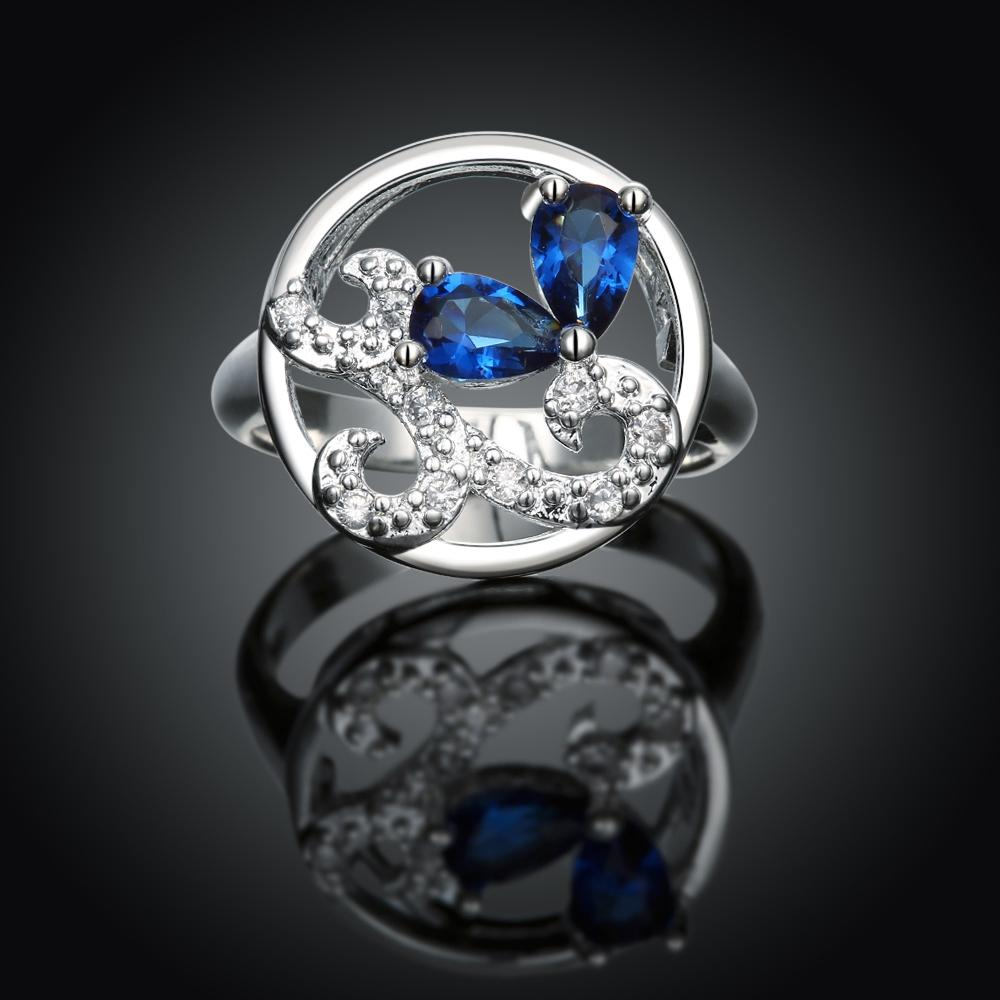 Blue Swarovski Elements Silver Plating Dome Ring - The Trendy Accessories Store