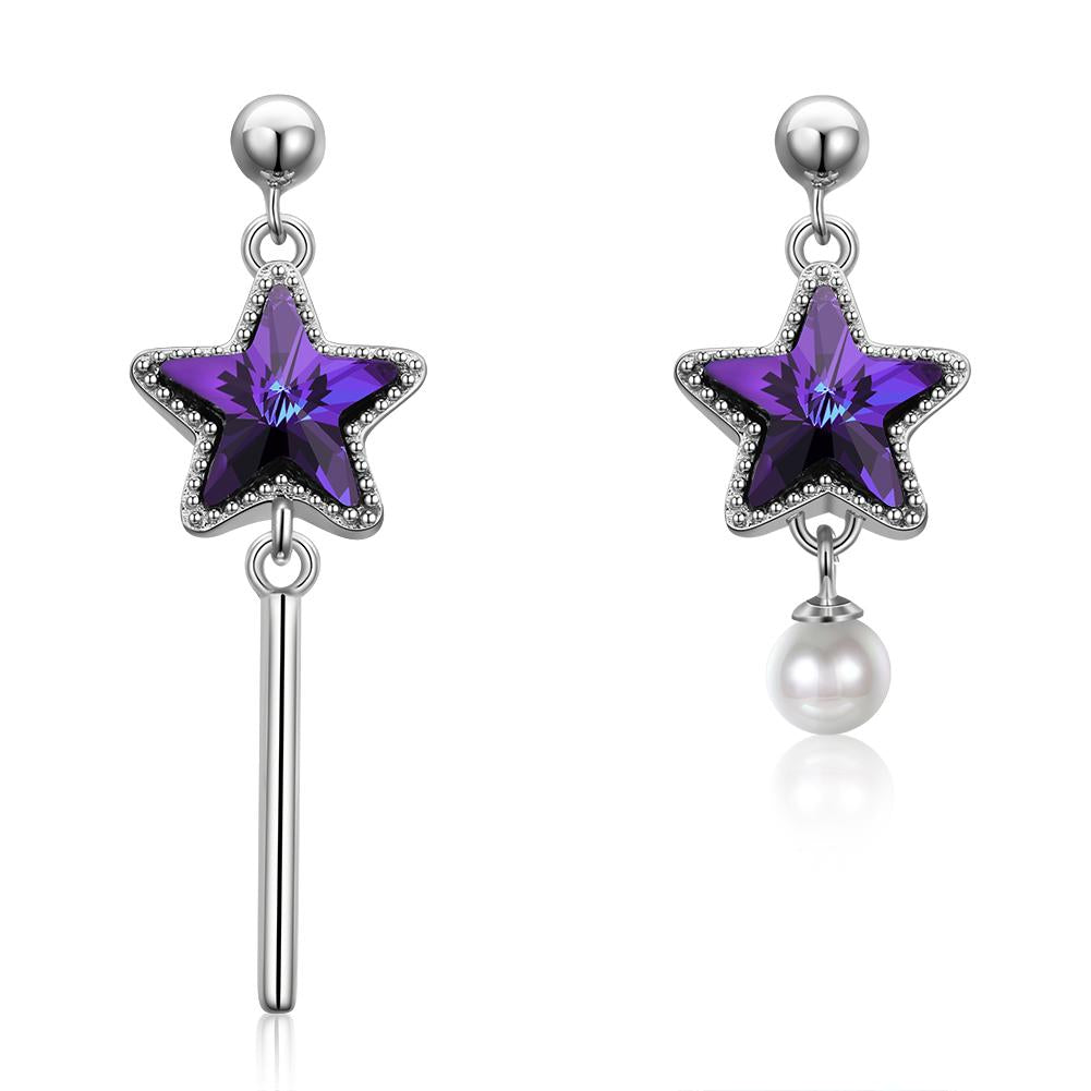 Sterling Silver Earring With Purple Stones - The Trendy Accessories Store