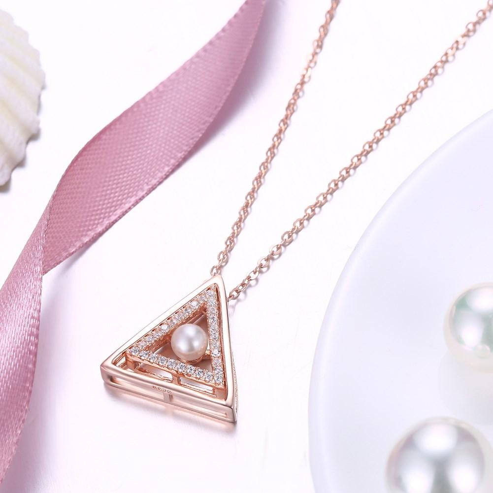 Pearl Triangle Sterling Silver Necklace - The Trendy Accessories Store