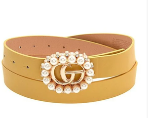 Premium Pearl Buckle Leather Belt - The Trendy Accessories Store