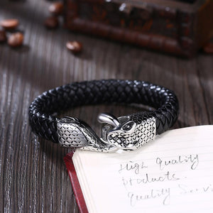 Mens Leather Steel Bracelet - The Trendy Accessories Store