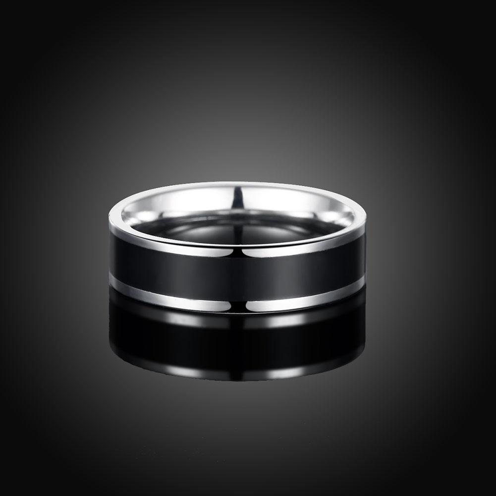 316L Stainless Steel Black Plating Duo-Toned Ring - The Trendy Accessories Store