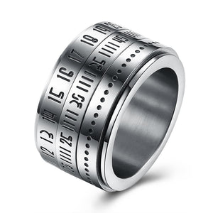 316L Stainless Steel Numeral Calender Band Ring - The Trendy Accessories Store