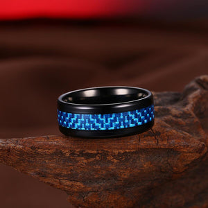 316L Stainless Steel Blue Brick Design Black Plating Ring - The Trendy Accessories Store