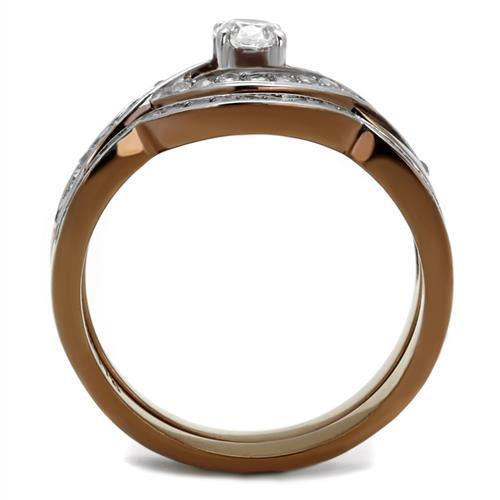TK2953 Two Tone IP Light Brown (IP Light coffee) Ring - The Trendy Accessories Store