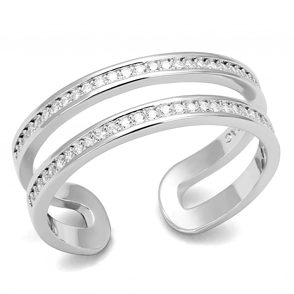 TS605 Rhodium 925 Sterling Silver Ring - The Trendy Accessories Store
