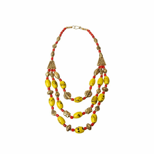 Mustard Bead Tribal Necklace - The Trendy Accessories Store