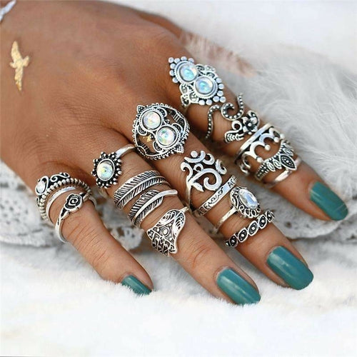 Opal Hamsa Ring Set - The Trendy Accessories Store
