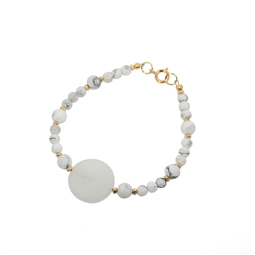Howlite and Seaglass Beaded Bracelet - The Trendy Accessories Store