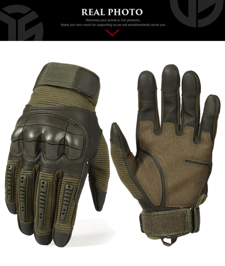 Touch Screen Tactical Rubber Hard Knuckle Full Finger Gloves - The Trendy Accessories Store