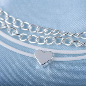 Bohemian Silver Heart Multi Chain Anklet Ankle Bracelet - The Trendy Accessories Store
