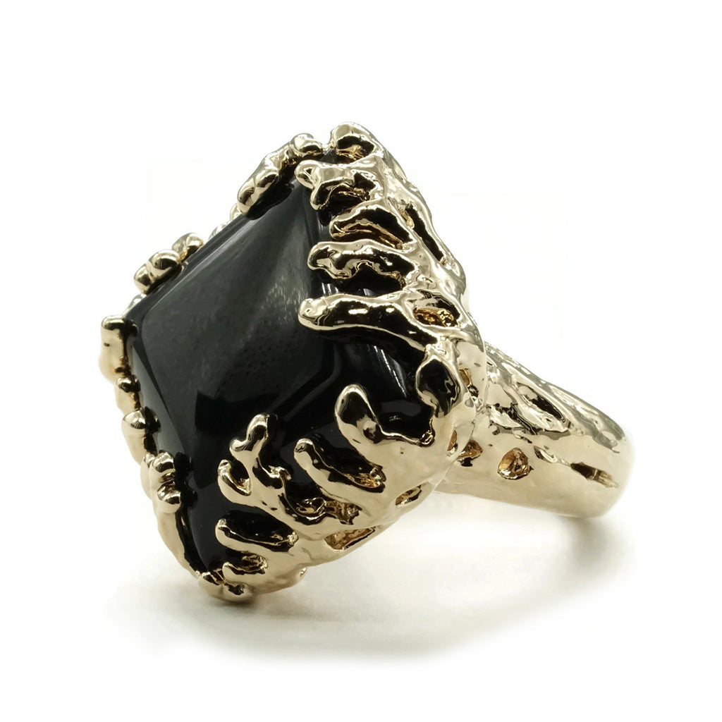 Coral Wrapped Offset Square Simulated Onyx Ring - The Trendy Accessories Store