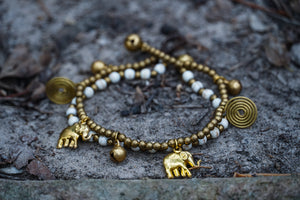 Boho Elephant Bracelets, Brass Bracelets White - The Trendy Accessories Store