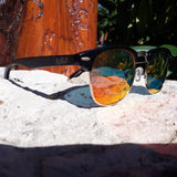 Black Bamboo Club Sunglasses, Polarized Sunset Lenses, HandCrafted - The Trendy Accessories Store