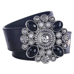Black White Crystal Buckle Belt - The Trendy Accessories Store