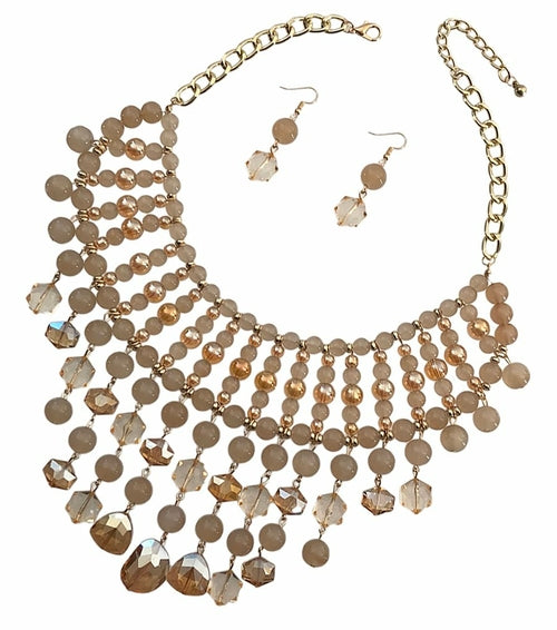 Heavy Rich Glass Bead Necklace Set - The Trendy Accessories Store