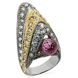 LO1001 Rhodium+Gold+ Ruthenium Brass Ring with AAA - The Trendy Accessories Store
