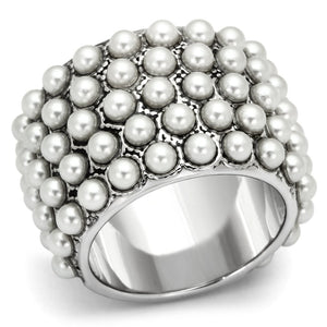 LOA832 Rhodium Brass Ring with Synthetic in White - The Trendy Accessories Store