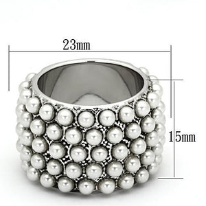Rhodium Brass Synthetic  White Ring - The Trendy Accessories Store