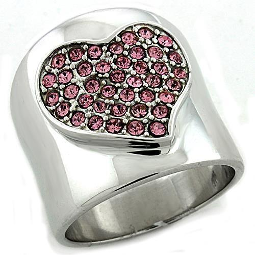 LOAS1196 Rhodium 925 Sterling Silver Ring with Top Heart Crystal - The Trendy Accessories Store