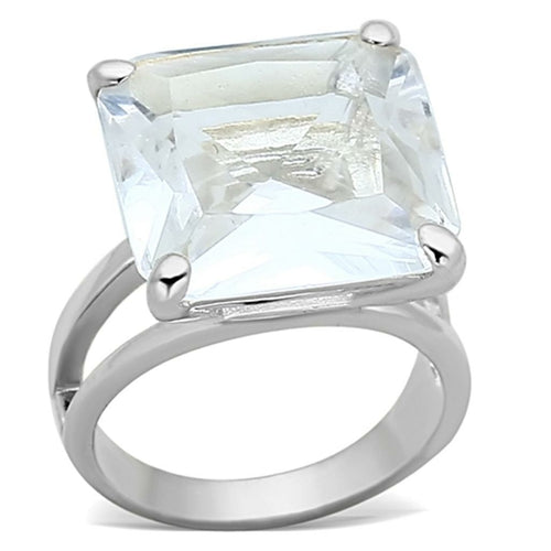 LOAS949 Silver 925 Sterling Silver Ring with Huge White Stone - The Trendy Accessories Store
