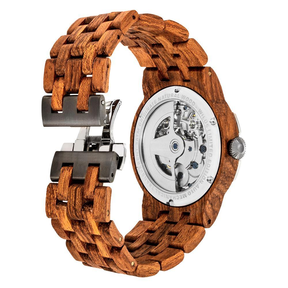 Men's Dual Wheel Automatic Kosso Wood Watch - For High End Watch - The Trendy Accessories Store