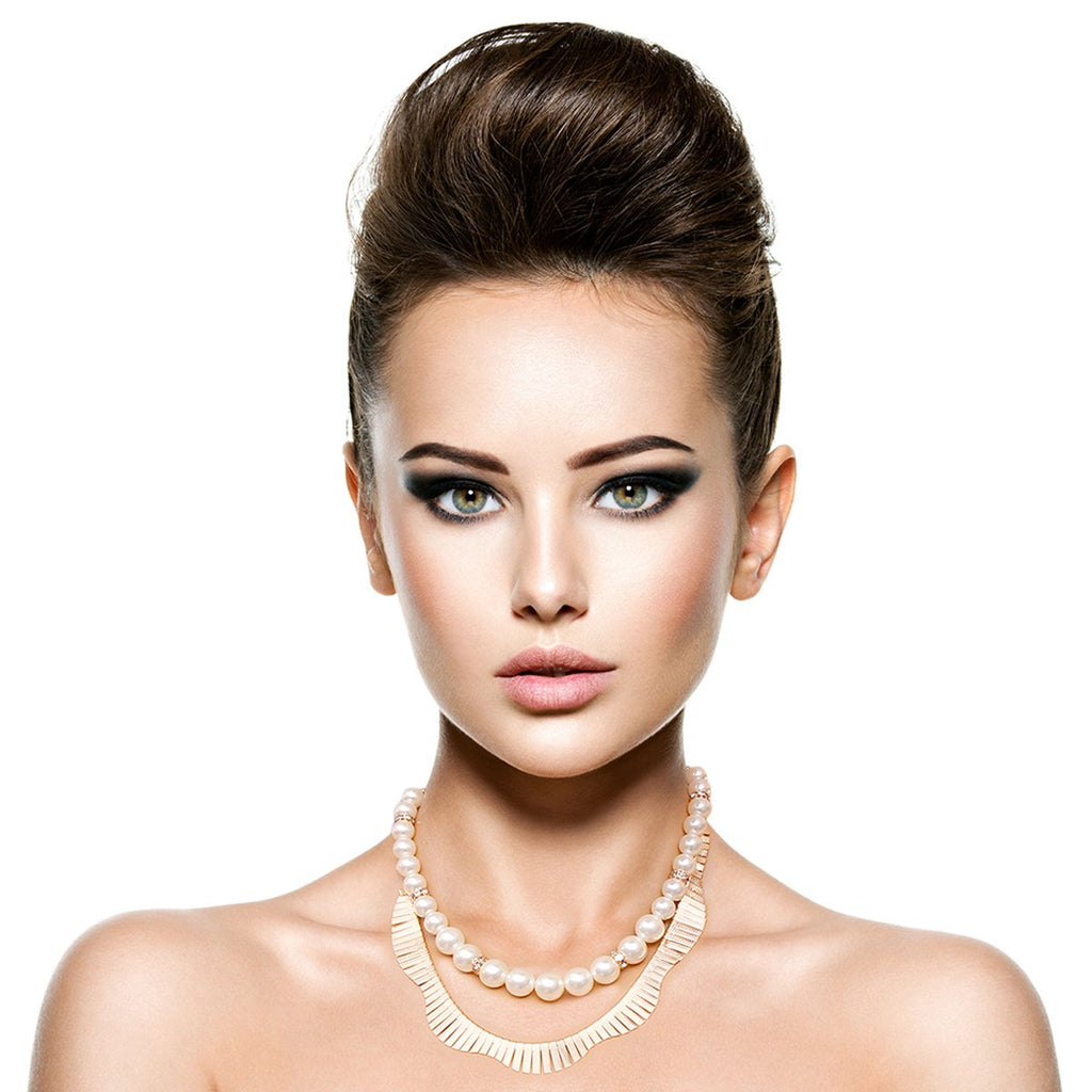 Fanned Gold and Pearl Necklace Set - The Trendy Accessories Store