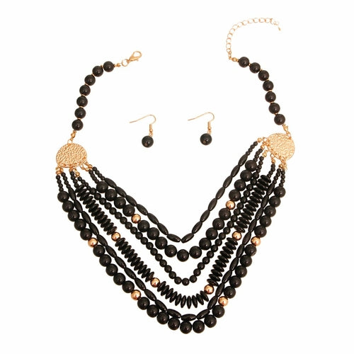 Black 6 Layered Bead Necklace - The Trendy Accessories Store