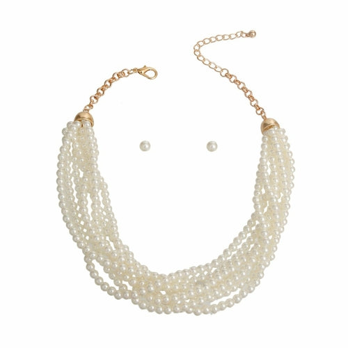 Cream Pearl Twist Necklace - The Trendy Accessories Store