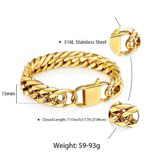 10mm 15mm Gold Black 316L Stainless Steel Bracelet for Men Double Curb - The Trendy Accessories Store
