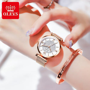 Diamond Starry Rose Gold Waterproof Watches - The Trendy Accessories Store